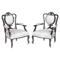 Pair of Antique Victorian Carved Black Lacquered Library Chairs