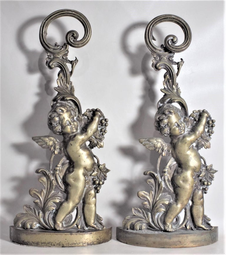 Pair of Antique Victorian Cast Brass Figural Cherub Door Stops or Sculptures For Sale 4