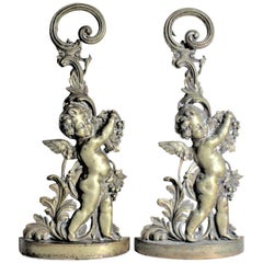 Pair of Antique Victorian Cast Brass Figural Cherub Door Stops or Sculptures