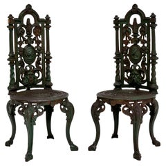 Pair of Antique Victorian Cast Iron Garden Chairs