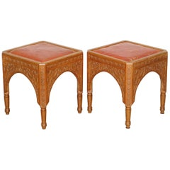 Pair of Antique Victorian Hand Carved 19th Century Asethetic Movement Stools