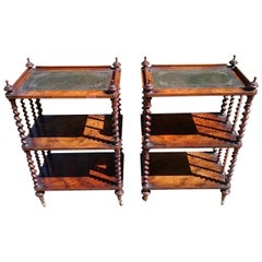 Pair of Antique Victorian Period Antique Whatnots by Howard and Sons of London