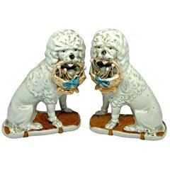 Pair of Antique Victorian Porcelain Poodle Dog Mantel Shelf Figures German