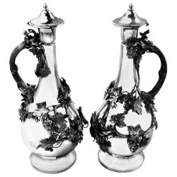Pair of Antique Victorian Sterling Silver Claret Jugs Ewers Wine Decanters 1860