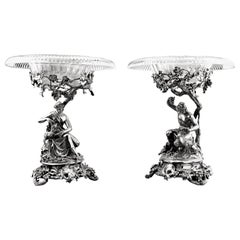 Pair of Antique Victorian Silver Comports London 1848 Centerpieces