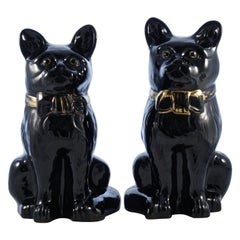 Pair of Antique Victorian Staffordshire Jackfield Black Pottery Cat Figurines