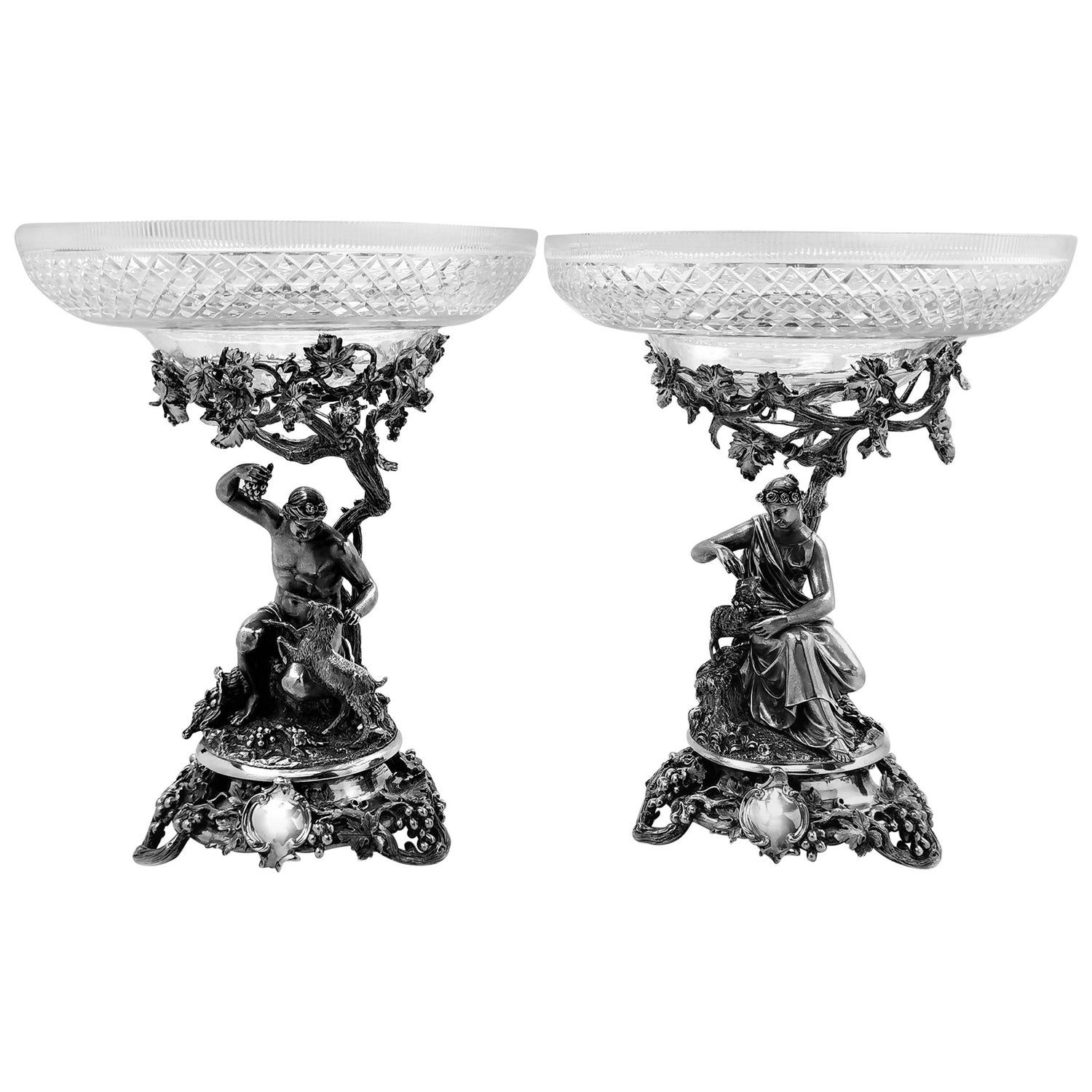 Pair of Antique Victorian Sterling Silver and Glass Comports, 1848