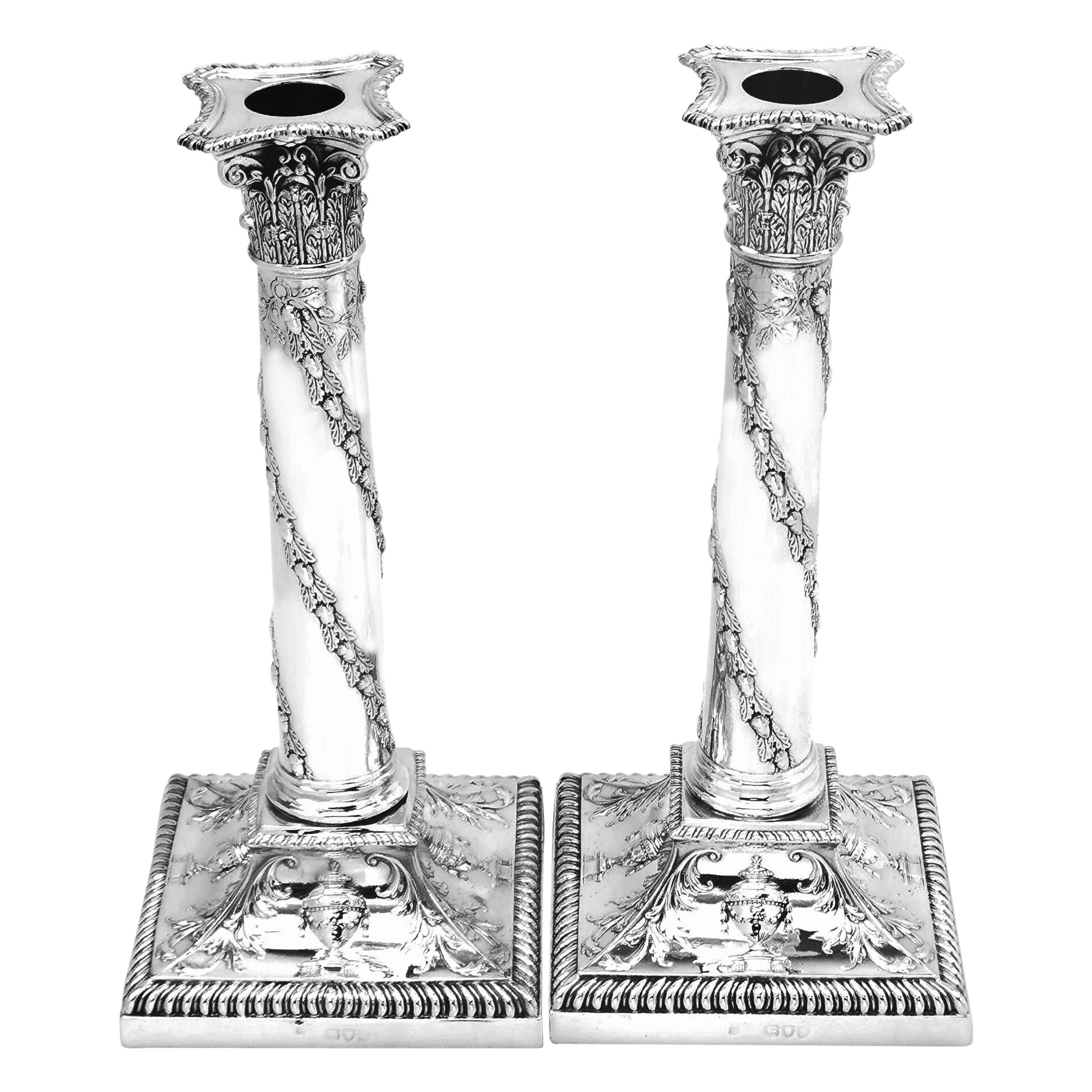 Pair of Antique Victorian Sterling Silver Candlesticks 1895