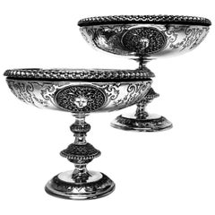 Pair of Antique Victorian Sterling Silver Comports / Dishes, 1862