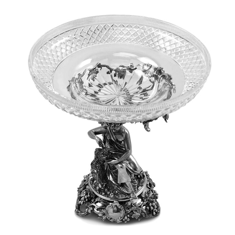Pair of Antique Victorian Sterling Silver and Glass Comports Centrepieces, 1848 For Sale 7