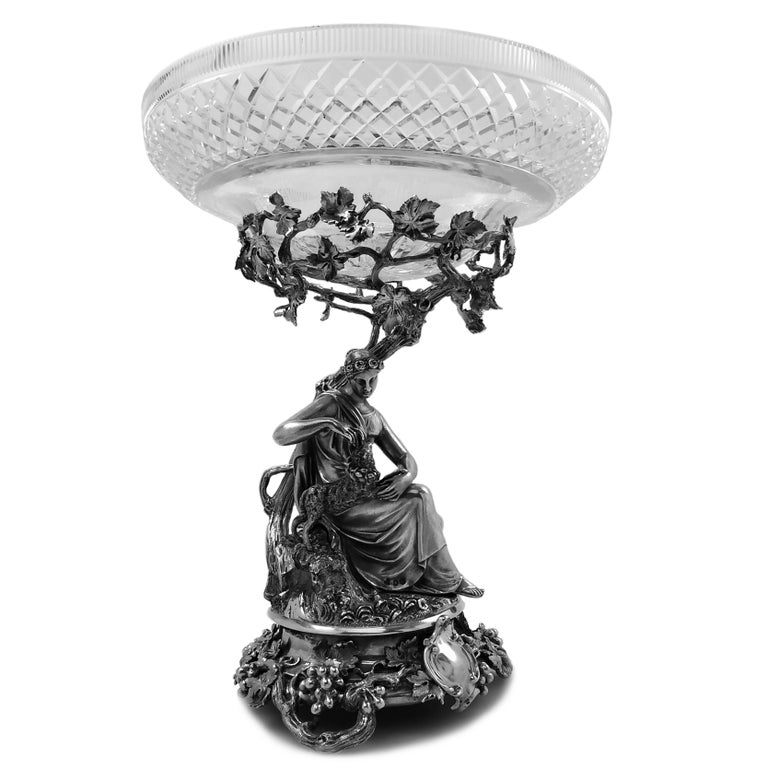 Pair of Antique Victorian Sterling Silver and Glass Comports Centrepieces, 1848 For Sale 10