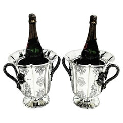 Pair of Antique Victorian Sterling Silver Wine Coolers / Champagne Buckets, 1844