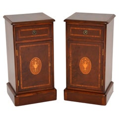 Pair of Antique Victorian Style Inlaid Bedside Cabinets