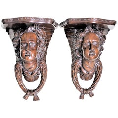 Pair of Antique Victorian Styled Solid Mahogany Figural Wall Shelves or Brackets