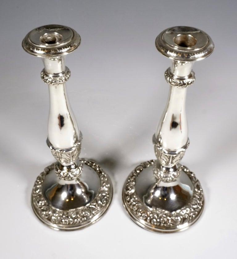 Austrian Pair of Antique Vienna Biedermeier Silver Candleholders, Dated 1840 For Sale