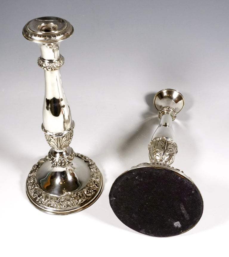 Mid-19th Century Pair of Antique Vienna Biedermeier Silver Candleholders, Dated 1840 For Sale