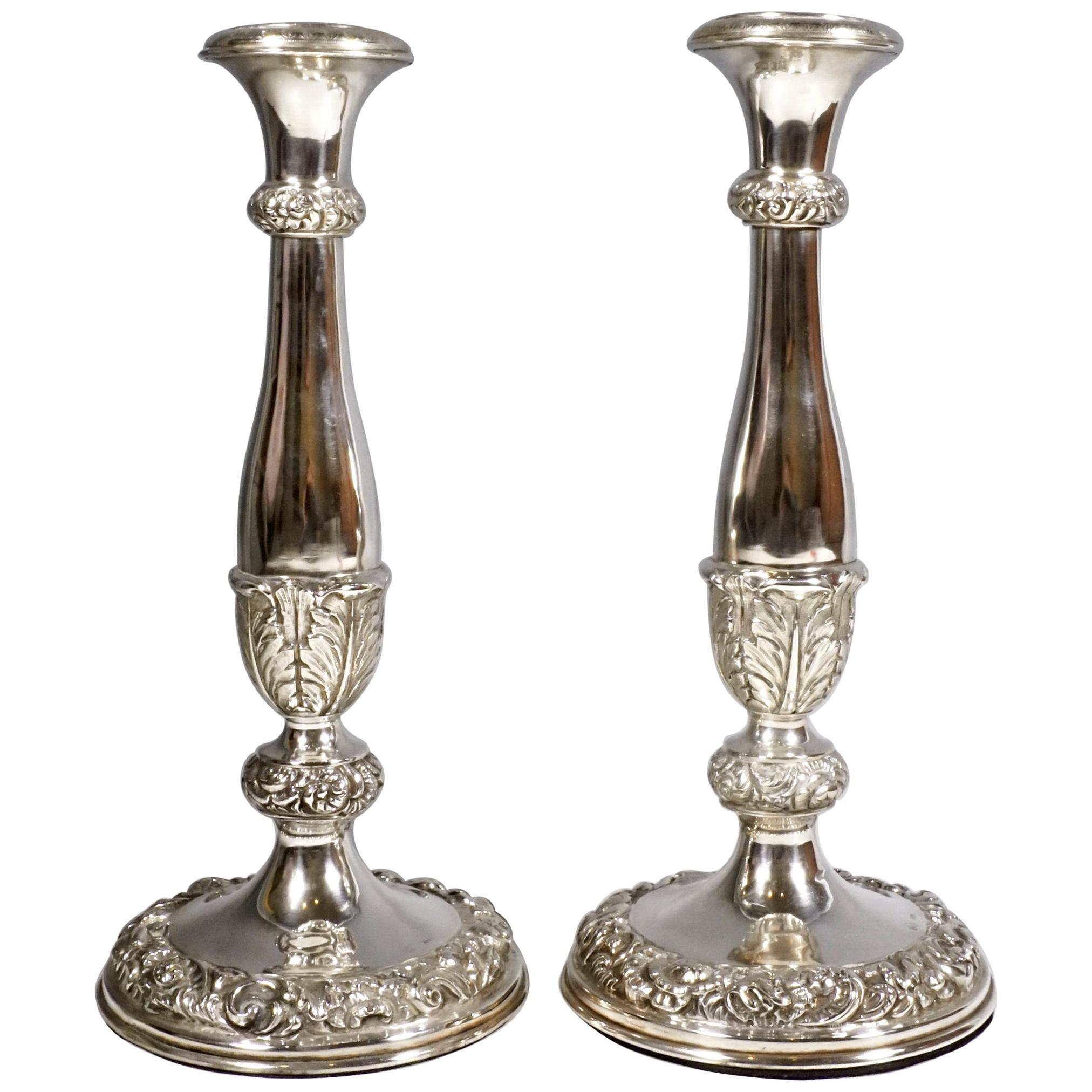Pair of Antique Vienna Biedermeier Silver Candleholders, Dated 1840