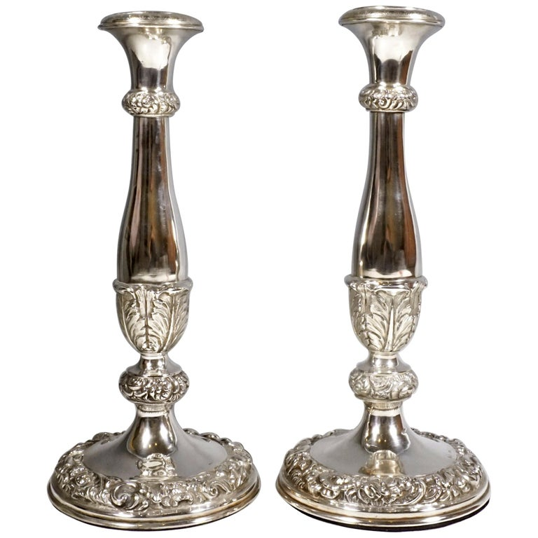 Pair of Antique Vienna Biedermeier Silver Candleholders, Dated 1840 For Sale