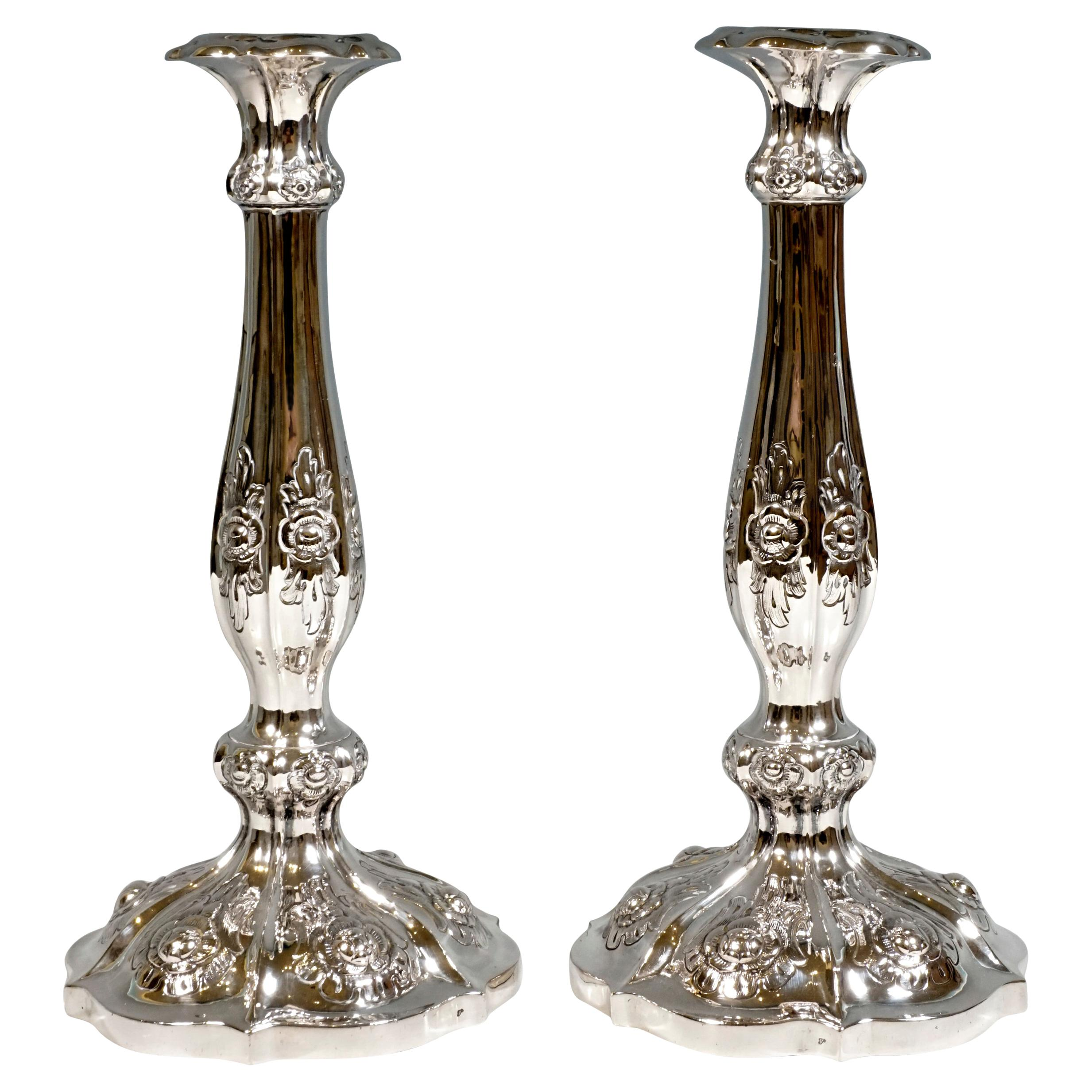 Pair of Antique Vienna Biedermeier Silver Candle Holders, Dated 1856