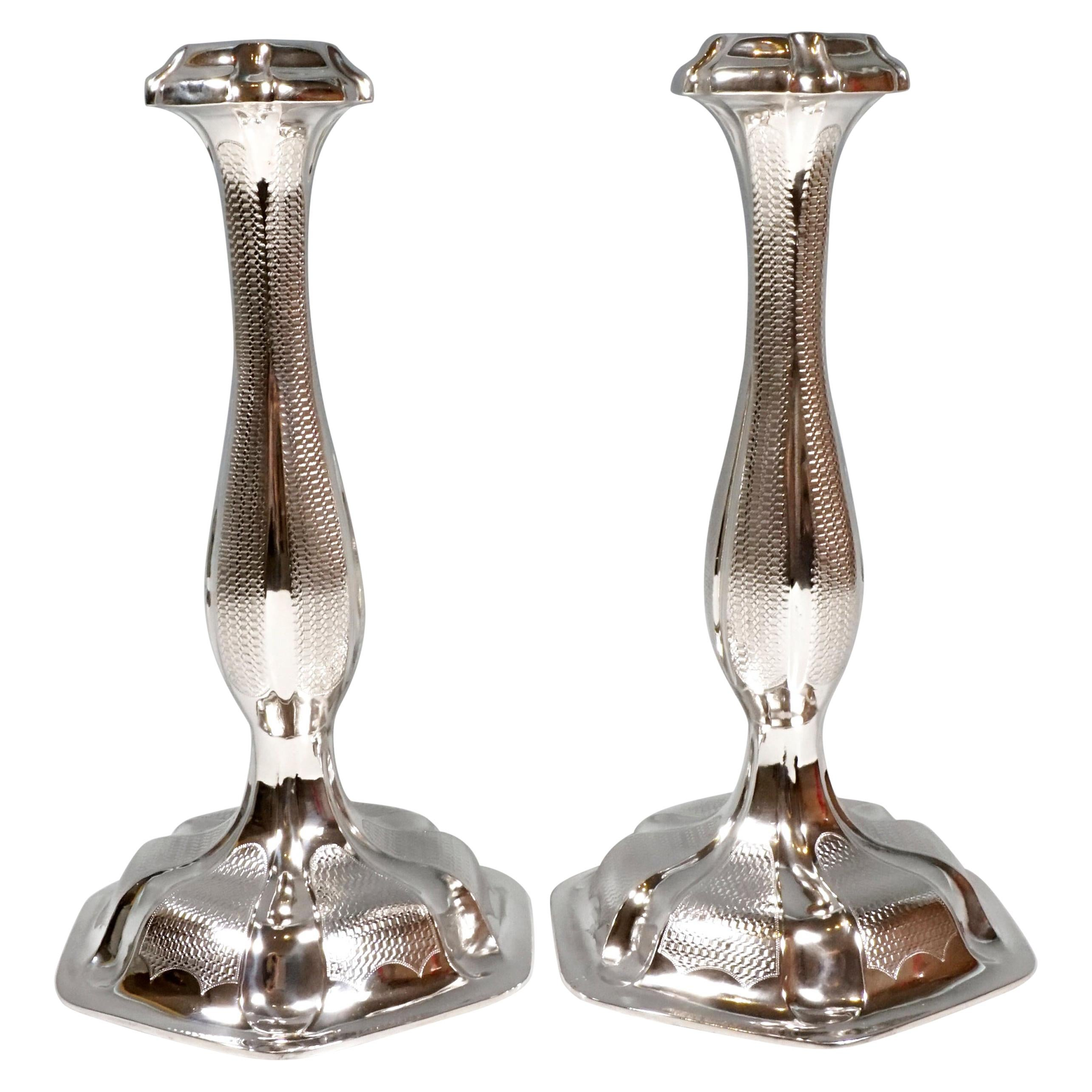 Pair of Antique Vienna Biedermeier Silver Candle Holders, Dated 1857