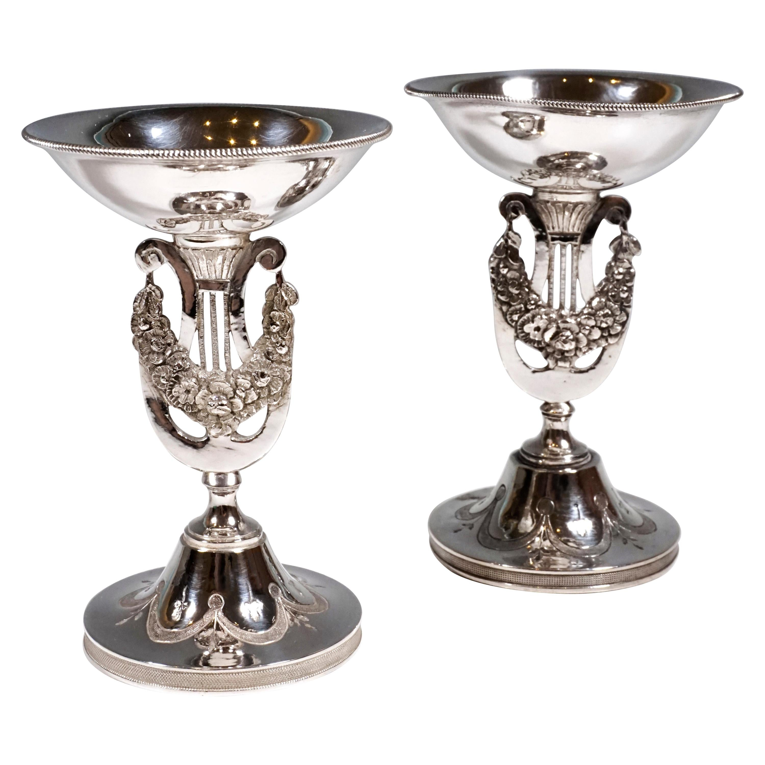 Pair Of Antique Vienna Silver Empire Spice Bowls by Georg Kohlmayer, ca. 1815