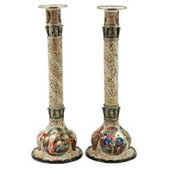 Pair of Antique Viennese Enamel & Silver Candlesticks circa 1870 Vienna, Austria