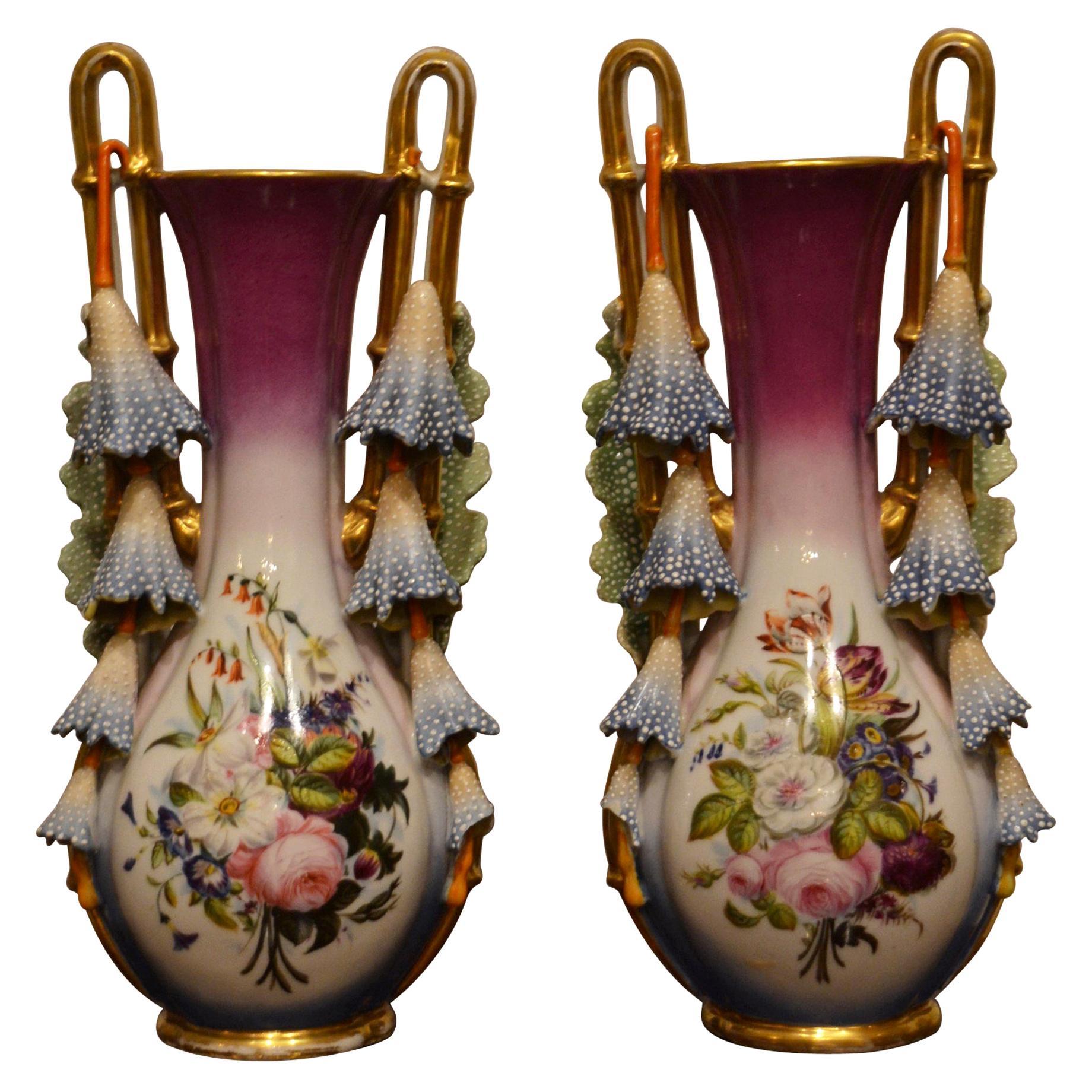 Pair of Antique Vieux Paris Old New Orleans Porcelain Vases from a Creole Estate