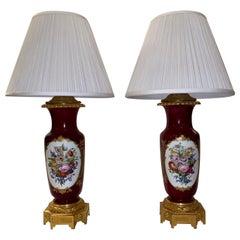 """Pair of Antique """"Vieux Paris"""" Porcelain Lamps with Ormolu Mounts circa 1870-1880"""