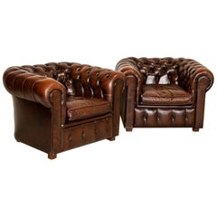 Vintage Leather English Chesterfield Club Chairs