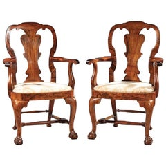 Pair of Antique Walnut Armchairs with Claw and Ball Feet