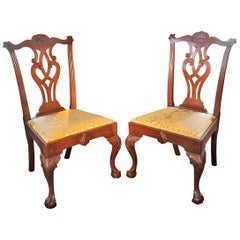 Pair of Important Philadelphia Shell Carved Walnut Chippendale Side Chairs C1765