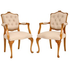 Pair of Antique Walnut Salon Armchairs