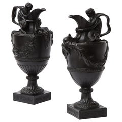 Pair of Antique Wedgwood Black Basalt Ewers Emblematic of Water and Earth