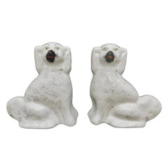 Pair of Antique White English Staffordshire Dogs
