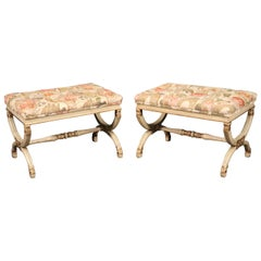 Pair of Antique White Painted Louis XVI Style Ottomans Benches Stools circa 1950