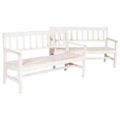 Pair of Antique White Painted Narrow Benches from Sweden