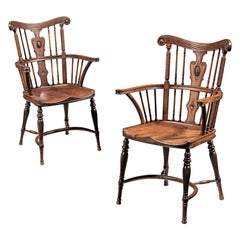 Pair of Antique Windsor Armchairs in Mahogany, Arts & Crafts, circa 1860s