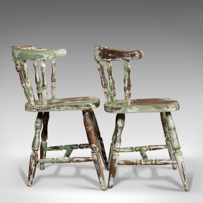 Late Victorian Pair of Antique Windsor Chairs, French, Beech, Bow Back Chair, Late 19th Century For Sale