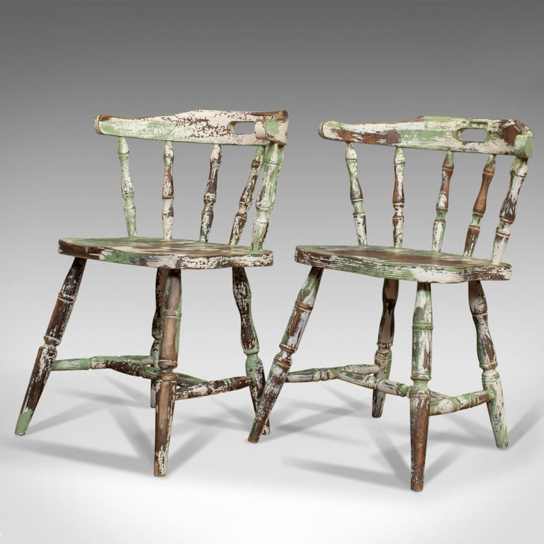 Hand-Painted Pair of Antique Windsor Chairs, French, Beech, Bow Back Chair, Late 19th Century For Sale