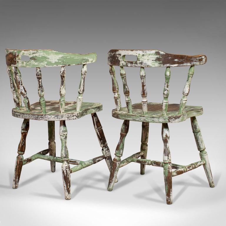 Pair of Antique Windsor Chairs, French, Beech, Bow Back Chair, Late 19th Century In Good Condition For Sale In Hele, Devon, GB