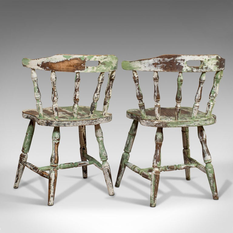 Pair of Antique Windsor Chairs, French, Beech, Bow Back Chair, Late 19th Century For Sale 1