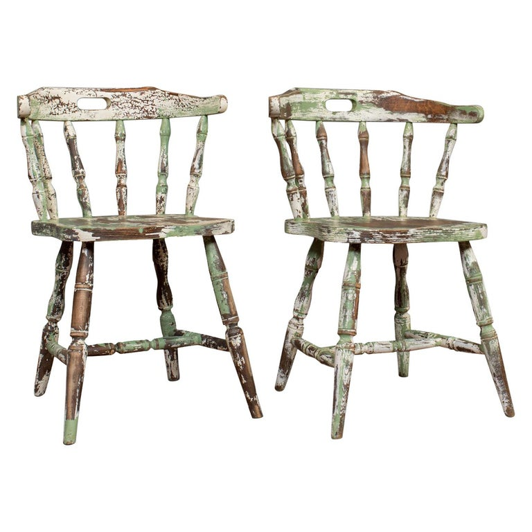 Pair of Antique Windsor Chairs, French, Beech, Bow Back Chair, Late 19th Century For Sale