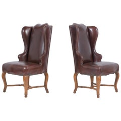 Pair of Leather Wingback Chairs
