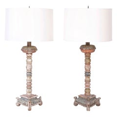 Pair of Antique Wood Candlesticks Converted to Table Lamps