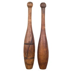 Pair of Antique Wooden Juggling Pins, circa 1920