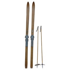 Pair of Antique Wooden Skis, Alps