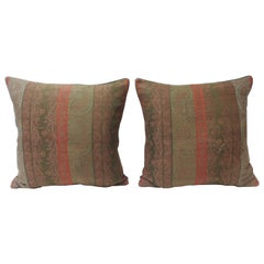 Pair of Antique Woven Red Kashmir Paisley Square Decorative Pillows