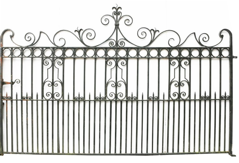 English Pair of Antique Wrought Iron Driveway Gates For Sale