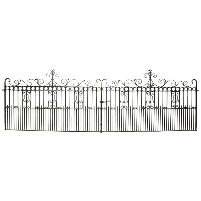 Pair of Antique Wrought Iron Driveway Gates For Sale