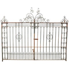 Pair of Antique Wrought Iron Driveway Gates